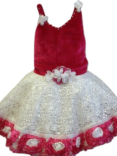 baby girl pink and white velvet bodice party dress