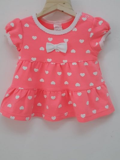 Infant pink and white hearts cotton set