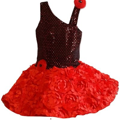 baby red and black soft ruffle dress