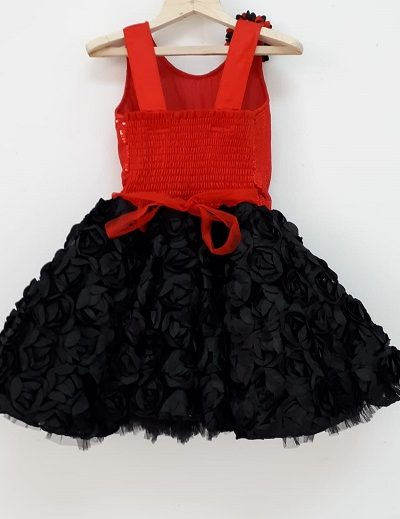 baby red black dress back