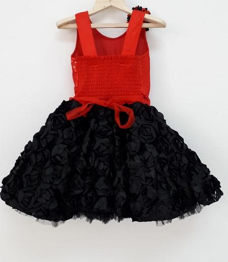 baby red black dress back