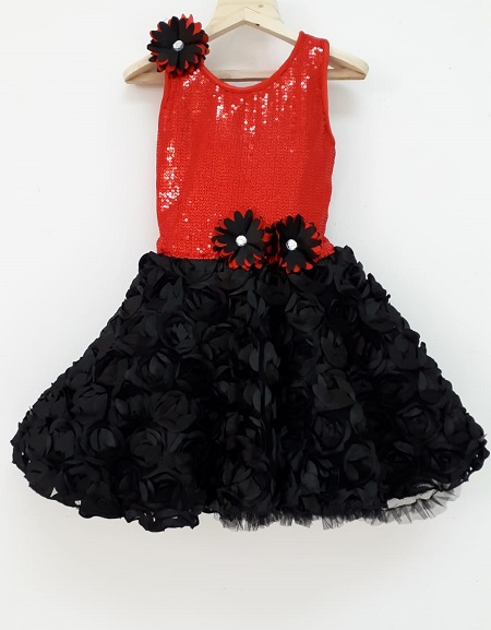 baby red black sequins dress