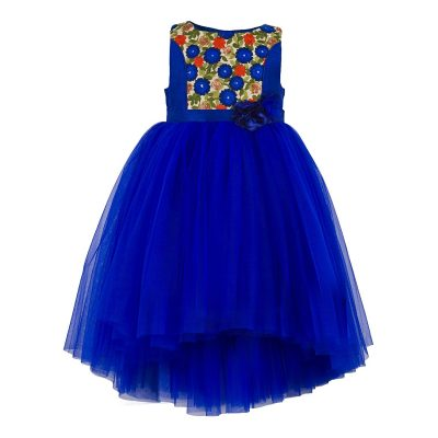 blue embroidered hi low party dress
