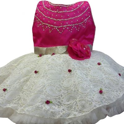 cerise and white baby party dress
