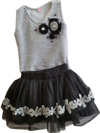 girls black tutu skirt and grey top