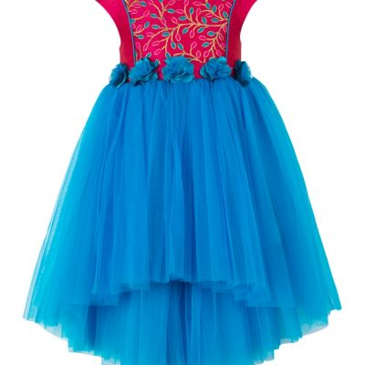 girls blue and pink bodice high low party dress