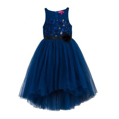 girls blue high low ballgown