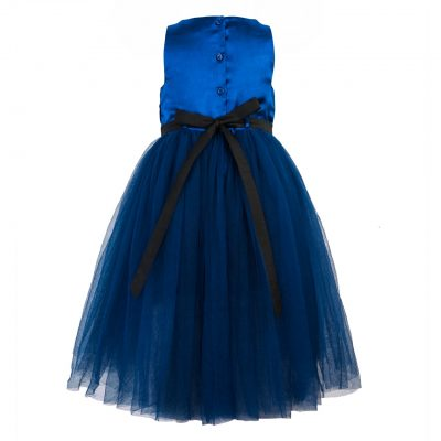 girls blue high low ballgown back