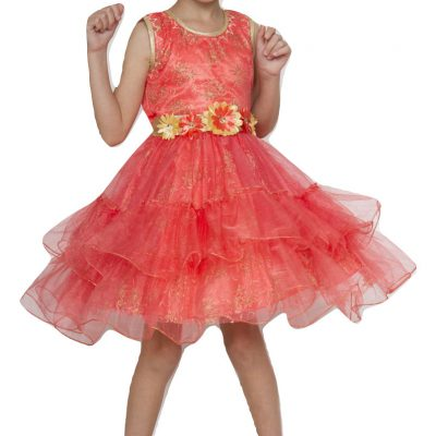 girls floral lace coral gold dress