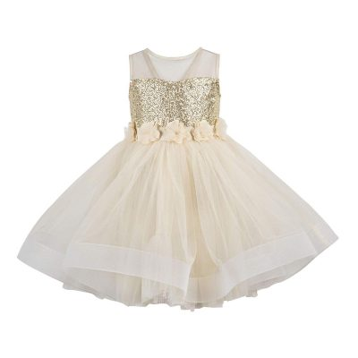 girls gold and cream party dress