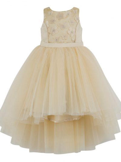 Girls high low formal cream dress