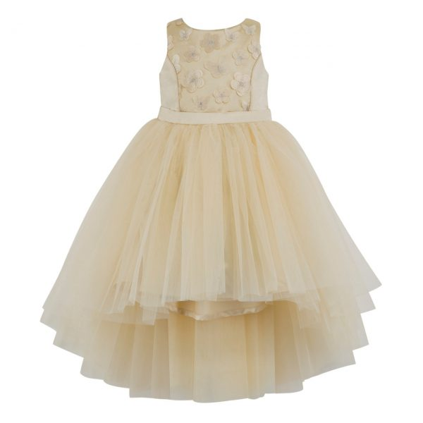 Girls high low formal cream dress