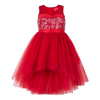 girls hi low red party dress