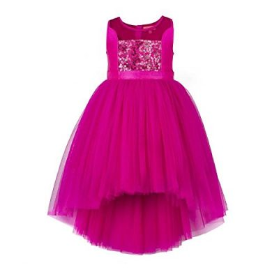 girls pink sequined hi low flower girl dress