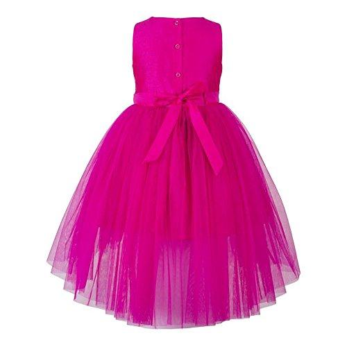 girls pink sequined hi low flower girl dress back