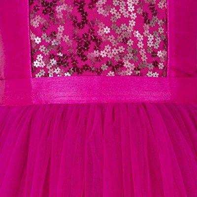 girls pink sequined hi low flower girl dress close