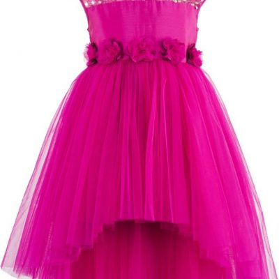girls pink sequined high low party dress