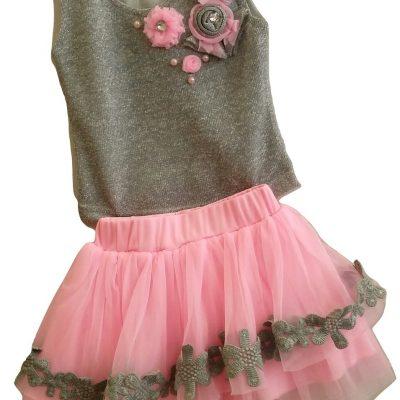 girls pink tutu and grey top