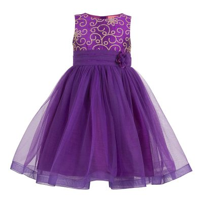 girls purple enbroidred party dress