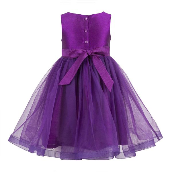 girls purple enbroidred party dress close