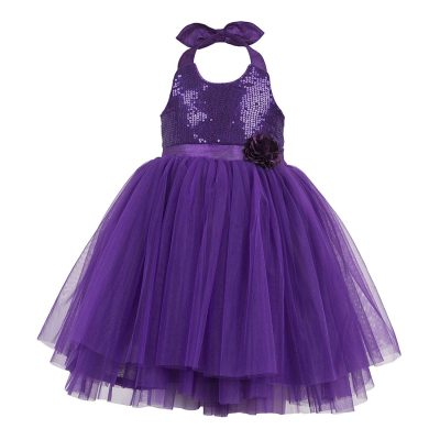 girls purple halterneck dress