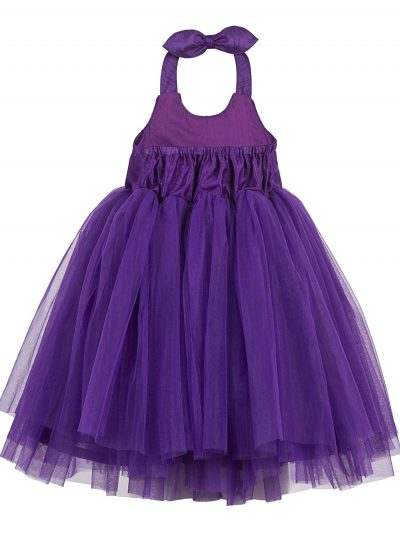 girls purple halterneck dress back