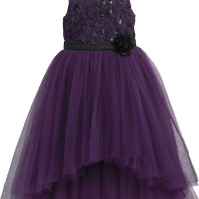 girls purple high low ballgown