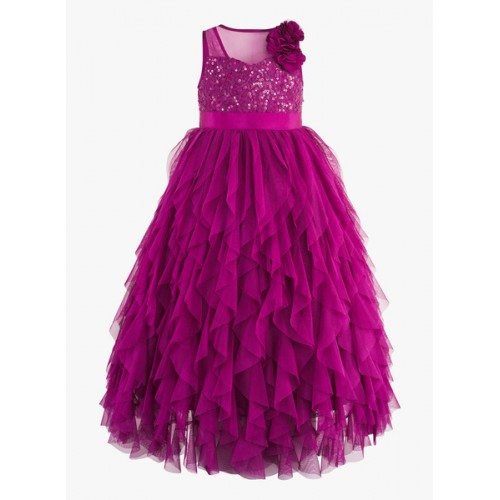 girls purple sequinned ballgown