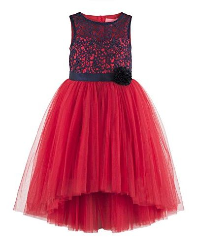 girls red blue floral lace bodice hi low dress