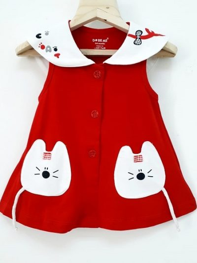 girls red cotton dress