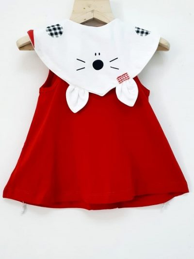 girls red cotton dress back