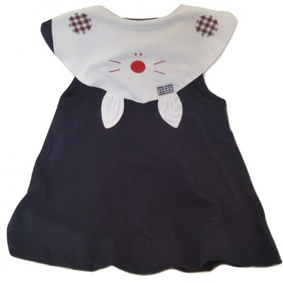 infant blue kitty cotton top back