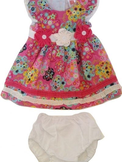 Infant pink and white floral cotton dress and panty