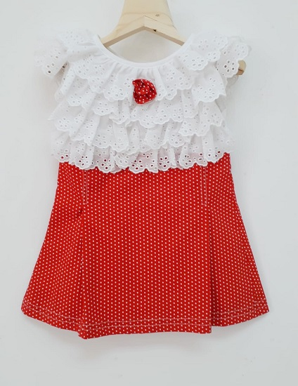 infant red and white dress