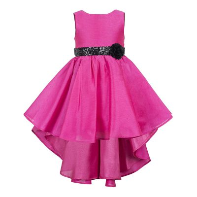 pink hi low party dress