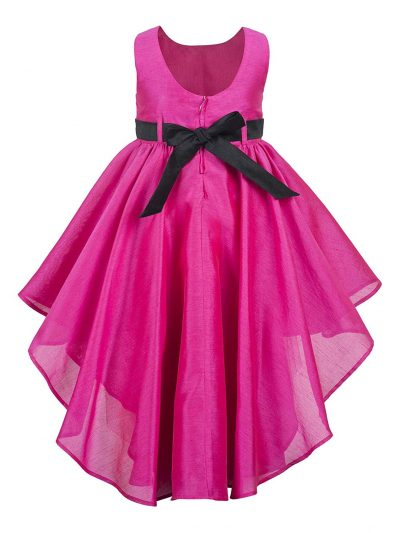 pink hi low party dress back