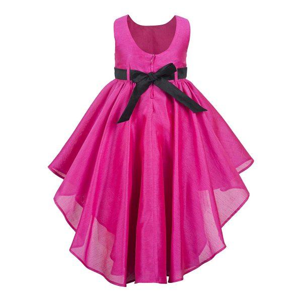 pink hi low party dress back