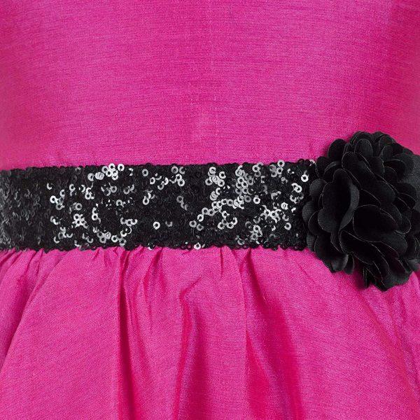 pink hi low party dress close