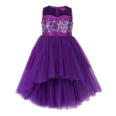 purple hi low flower girl dress