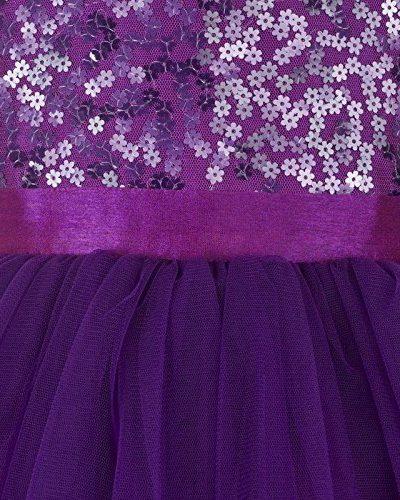 purple hi low flower girl dress close