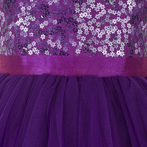 purple hi low flower girl dress close