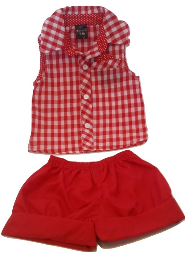 Infant red and white checked cotton set
