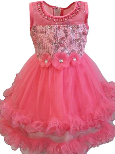 toddler girl tier coral party dress